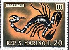 San Marino stamp with Scorpio sign glyph and constellation R.S.W.Bobbette wrote in 1997 in her article Introductory Essays On Rudolf Steiner's Star-Knowledge that Steiner claimed Scorpio to Dynamism [which explains the material world in terms of active forces, in contrast to the passive view of matter in philosophical mechanism]