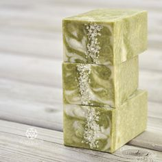 Key lime salt bars with raw shea butter and french green clay. #soap…