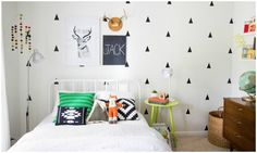 Wall decals are right on trend today in kids rooms. Come take a look at these 8 rooms to find inspiration on how to style your black triangle wall decals in your kiddos room.