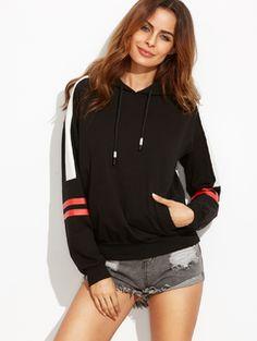 Black Print Hooded Long Sleeve Sweatshirt