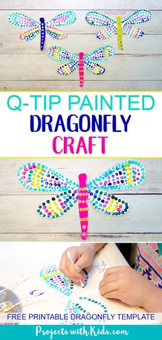 This q-tip painted dragonfly craft is a fun and easy summer activity for kids of all ages. Kids will have fun designing their dragonfly wings, each one will be unique and beautiful. This is a wonderful and relaxing painting project that is also great for Summer Crafts For Kids, Summer Activities For Kids, Summer Kids, Toddler Activities, Art For Kids, Time Activities, Summer Classes For Kids, Art Project For Kids, Craft Work For Kids