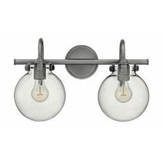 Buy the Hinkley Lighting Antique Nickel Direct. Shop for the Hinkley Lighting Antique Nickel 2 Light Width Bathroom Vanity Light with Clear Globe Shade from the Congress Collection and save. Light Fixtures Bathroom Vanity, Bathroom Wall Lights, Bath Fixtures, Bathroom Lighting, Light Bathroom, Bathroom Ideas, Unit Bathroom, Bathroom Chrome, Master Bathrooms