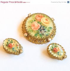 Porcelain Vintage Jewelry Set Brooch with Earrings by OurBoudoir
