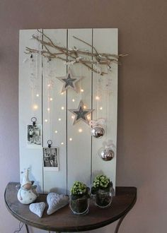 Do you still have scaffolding wood lying around? Then make the most amazing autumn decoration with . - Do you still have scaffolding wood lying around? Then make the most amazing autumn decoration with - Noel Christmas, Rustic Christmas, Christmas Projects, Winter Christmas, Christmas Lights, Holiday Crafts, Christmas Ornaments, Christmas Design, Hanging Ornaments