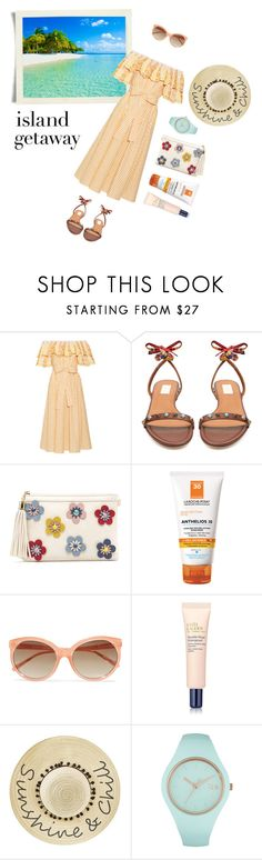 """Chic Island Getaway"" by effekiara ❤ liked on Polyvore featuring Gül Hürgel, Valentino, La Roche-Posay, Linda Farrow, Estée Lauder, Betsey Johnson, Ice-Watch and islandgetaway"