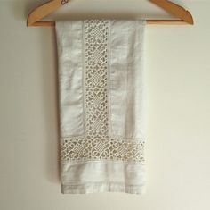 Linen Hand Towel Handmade with Vintage Linen by marypearlsvintage