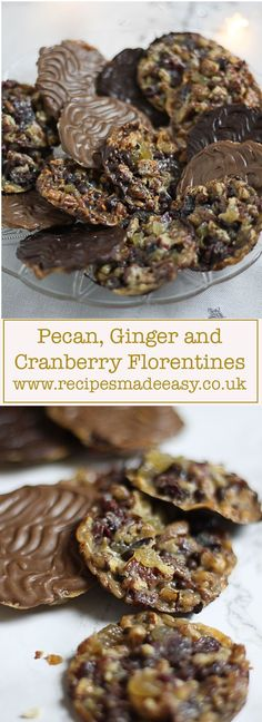 Recipes Made Easy - Pecan, ginger and cranberry florentines. A fabulous nutty treat with a hint of ginger, these classic biscuits make an indulgent treat or a lovely gift.
