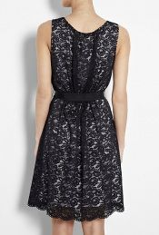 DKNY black sleeveless lace dress with gathered waist