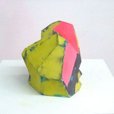 Zachary Buchner . Untitled (Green/Pink/Black), 2008 . foam, joint compound, mdf, enamel and acrylic . 18 x 18 x 49-1/2 in