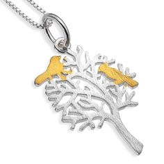 Sterling Silver Jewellery UK: Pure Origins: Sterling Silver Tree Pendant with Gold Birds