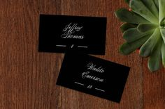 """Classical"" - Elegant, Classical Wedding Place Cards in Taupe by Jessica Williams."