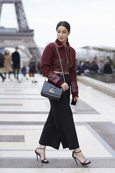 Red leather jacket    For more style inspiration visit 40plusstyle.com