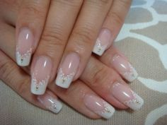 White Lace Art--July wedding nails
