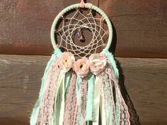 Dreamcatcher, Bohemian Dreamcatcher, Pink Mint Dreamcatcher, nursery decor, Boho dreamcatcher, wall hanging, Dream Catcher, Modern decor