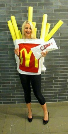 """Cute costume, pool """"noodles"""" as fries"""