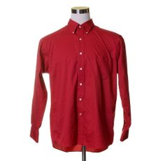 CHAPS Bright Red TWILL Wrinkle Free Button Dress Shirt 17-17.5 34/35 XL #CHAPS