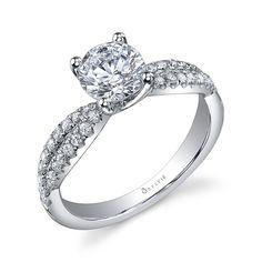 Stunning Split Shank Round Brilliant Diamond Engagement Ring