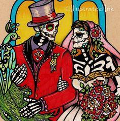 Dia De Los Muertos Wedding | Dia de los Muertos WEDDING COUPLE Day of the Dead Art Print 8 x 10