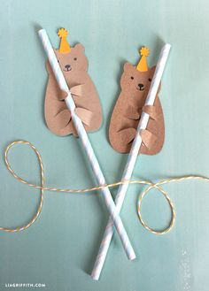 DIY woodland party bear straw hugger from MichaelsMakers Lia Griffith