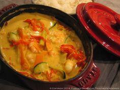 Cocotte de crevettes au colombo, lasagnes de legumes