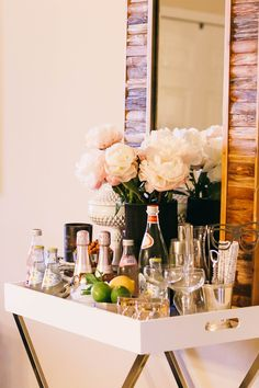 Bar vignette. styling a bar cart. home decor and interior decorating ideas.