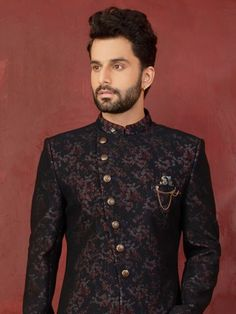- Black embroidered indowestern sherwani intricate with buttons, resham thread, self work, brooch. Blazer For Men Wedding, Wedding Men, Sherwani, Indian Men Fashion, Mens Fashion, Engagement Dress For Men, Cool Wrist Tattoos, Sangeet Outfit, Achkan
