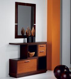 Meuble d'entrée avec tiroirs et miroir RUBENS, coloris teck et wengé