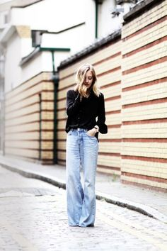Le Fashion Blog Blogger Sarah Street Style Black Silk Button Down Light Wash Wide Leg Jeans Via Framboise Fashion