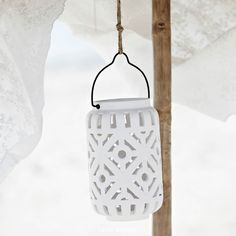 Lene Bjerre Salva lantern in handcarved ceramics. Just beautiful for the long summer nights.