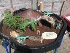 """Dinosaur & Volcano Small World in a Tuff Spot from Pre-school Play ("""",) Dinosaur Garden, Dinosaur Play, Dinosaur Activities, Toddler Activities, Joseph Activities, Preschool Dinosaur, Dinosaur Small World, Small World Play, Tuff Spot"""