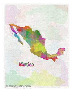 Mexico Map Simple and Colorful Watercolor Map Art by PineShore