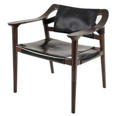 DAX-SIERRA Cult Armchair, Hovenia Wood with Black Leather