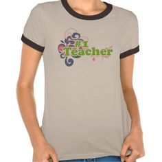 #1 teacher! tee shirt  Click on photo to purchase. Check out all current coupon offers and save! http://www.zazzle.com/coupons?rf=238785193994622463&tc=pin