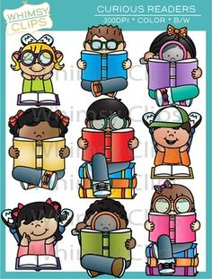The curious readers clip art set contains 18 image files, which includes 9 color images and 9 black & white images in png. All images are 300dpi for better scaling and printing.