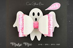 Diy Halloween, Halloween Mono, Halloween Ghosts, Halloween Hair Bows, Diy Bow, Diy Hair Bows, Bow Template, Templates, Glitter Canvas