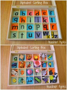 DIY with egg cartons - To use with Phonemic Awareness, you could put a picture that begins with each letter instead of the letter itself. Then match initial sounds with the objects. Phonemic Awareness Activities, Phonological Awareness, Alphabet Activities, Literacy Activities, Preschool Activities, Preschool Curriculum, Kindergarten Literacy, Early Literacy, Homeschooling