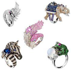 Boucheron Cypris, Hathi, Zebra, Grenouille & Flamingo Rings