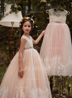 ad47b1c337a two Piece Ball Gown Halter Blush Pink Flower Girl Dresses with Appliques by  MeetBeauty