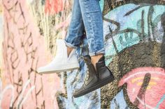 BIKER MEETS SKATER Unisex bootie with typical biker padding Black calf leather Round toe Black skate sole Zip on both sides If between two sizes, tak Rock And Roll, Calf Leather, Skate, Biker, Spring Summer, Toe, Booty, Unisex, Black