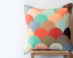 "Pastel Geometric Pillow Cover with Peach, Mint, Cream, Blue, Tangerine, Lavender, Taupe, Brown Circles / 45 cm x 45 cm ~ 18"" x 18"""