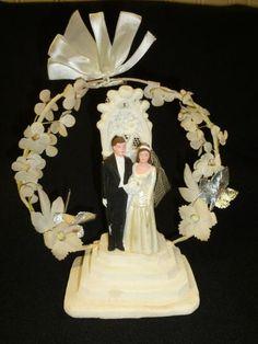 Vintage 1950's Plaster Chalkware WEDDING CAKE TOPPER Couple Flowers Bride Groom