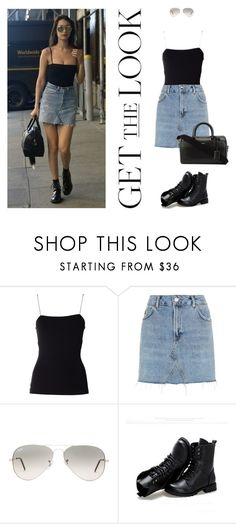 """Bella Hadid?"" by lia-adln ❤ liked on Polyvore featuring Givenchy, T By Alexander Wang, Topshop, Ray-Ban, Sunsteps and Yves Saint Laurent"