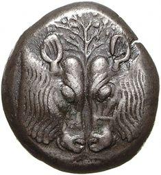 Statere - billon - Lesbo, Grecia (510-490 a.C.) - due teste di tori affrontate, nel centro un albero frondoso - Münzkabinett Berlin