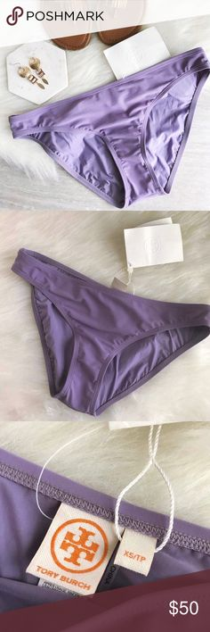 """tory burch • low rise hipster bikini bottoms Tory Burch Laurito Hipster bottoms in Provence color  Beautiful lavender colored bikini bottoms. Color is called """"Provence."""" Solid microfiber. Low rise. Hipster sides. Moderate seat coverage. Nylon/Xtra Life Lycra® spandex. Hygienic liner in tact.   size: x-small condition: new with tags Tory Burch Swim Bikinis"""