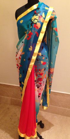 Gergette Indian Suits, Indian Wear, India Fashion, Asian Fashion, India Style, Scarf Dress, Indian Clothes, Saree Styles, Printed Sarees
