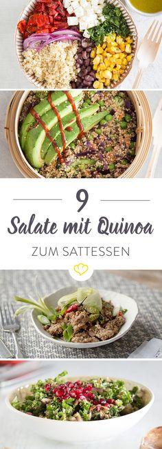 Du hast Lust auf einen Salat – auf einen Salat, der dich fit hält und satt macht? Dann sind diese 9 Sattmacher-Salate genau das Richtige für dich. Die Basis: Knackiger Quinoa – reich an Proteinen, arm an Fettsäuren und frei von Gluten. Ein echtes Superfood eben. In Kombination mit Granatapfelkernen, Avocado, Ingwer, Hähnchen und Mango ein farbenfrohes Powerpaket. Mehr davon!