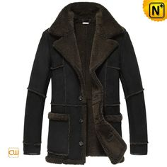 CWMALLS® Shearling Trimmed Sheepskin Coat CW878127 - Shop shearling trimmed sheepskin coat for men, it is made from Denmark imported natural sheepskin materials, featuring allover shearling fur trims and notched collar, fashion and elegant appearance adds more glamour to this warm sheepskin coat.