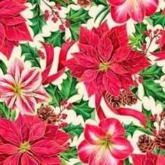 Joy To The World Poinsettia Amaryllis Metallic Gold Cotton Fabric