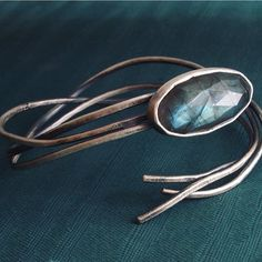 Jewels for mermaids who swim in the moonlight.  Labradorite  oxidized sterling silver cuff.