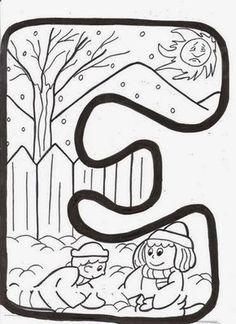 Letras de invierno para colorear Simpáticas letras infantiles para componer la palabra de invierno, colorearlas y decorar el espacio ...